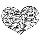 Rose rouge Symbole noir et blanc de coeur de Zentangle Images stock