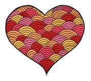 Rose rouge Symbole noir et blanc de coeur de Zentangle Photos stock