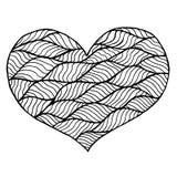 Rose rouge Symbole noir et blanc de coeur de Zentangle Photo stock