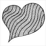 Rose rouge Symbole noir et blanc de coeur de Zentangle illustration libre de droits