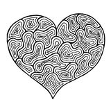 Rose rouge Symbole noir et blanc de coeur de Zentangle Image libre de droits