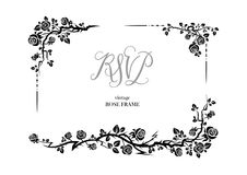 Rose rsvp invitation. Wedding or jubilee theme. Ornamental frame with roses. Solemn floral element for design banner,invitation, leaflet, card, poster and so on stock illustration