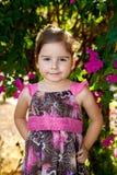 Rose sûr de fille d'enfant en bas âge et robe de Brown images libres de droits