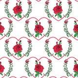 Rose sans couture de rouge de modèle dans la forme de coeur pour la mode Photo stock