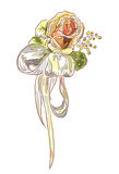 Rose and satin ribbon. Stock Photo