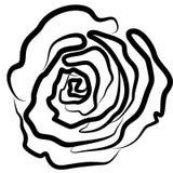 Rose se ennegrece, vector, ejemplo, silueta, fondo blanco, esplendor, estilo, pasión stock de ilustración
