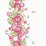 Rose Seamless Background with Birds Stock Photos