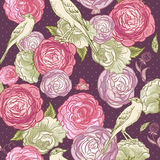 Rose Seamless Background with Birds Royalty Free Stock Photos