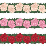 Rose seamless border set vector illustration