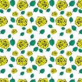Rose seamless pattern flowers for background design. stock illustration