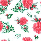 Rose seamless pattern-01. Beautiful seamless pattern with pink,red roses on a white background. Summer Vector illustration in the style of shabby chic.Print for Stock Photo