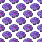 Rose. Seamless pattern with cosmic or galaxy flowers. Hand-drawn original floral background. Stock Photography
