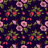 Rose seamless pattern in dark Stock Image