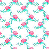 Rose. Seamless pattern with flowers. Hand-drawn background. Vector illustration. Stock Photography