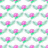 Rose. Seamless pattern with flowers. Hand-drawn background. Vector illustration. Royalty Free Stock Image