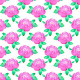 Rose. Seamless pattern with flowers. Hand-drawn background. Vector illustration. Stock Images