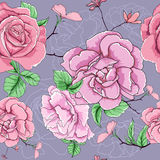 Rose seamless pattern. This is illustration of vector flower seamless Stock Photo