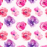 Rose seamless pattern with natural watercolor illustrations of watercolor roses on the paper. royalty free illustration