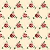 Rose seamless pattern, retro pin-up style. Floral seamless pattern with stylized red rose flowers, green leafs and solid beige background in pinup retro style Stock Image
