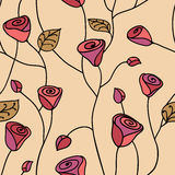Rose seamless pattern in pink Stock Image