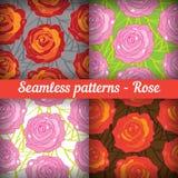 Rose. Set of seamless patterns. Floral background.  royalty free illustration
