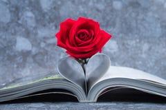 Rose setzte auf die Buchseite, die in eine Herzform verbogen wird Lizenzfreies Stockbild
