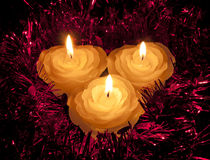 Rose shape candles with Christmas festive tinsel Royalty Free Stock Photo