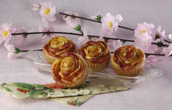 Rose shaped apple muffin Royalty Free Stock Photos