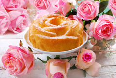 Rose shaped cake for valentines Stock Photos