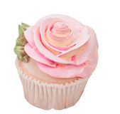 Rose shaped cupcake Stock Photos