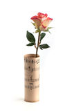 Rose in sheet music over white Royalty Free Stock Photo