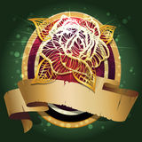 The rose shield. The shield with forged golden rose and banner for text against dark green background with bubbles drawn in classic style stock illustration