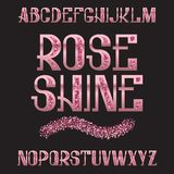 Rose Shine-lettersoort Roze gouden schitterende doopvont Geïsoleerd overladen Engels alfabet Stock Foto's