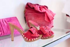 Rose shoes and handbag Royalty Free Stock Photo