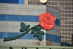 Rose Sign on Building in Portland, Oregon. This is a Rose sign that is lit up at night in downtown Portland, Oregon royalty free stock image