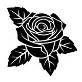 Rose silhouette 004. Rose silhouette isolated on white background. Use for fabric design, tattoo, pattern and decorating greeting cards, invitations Royalty Free Stock Images