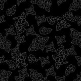 Rose silhouette in white hand drawn pattern on black background. Rose silhouette in white hand drawn seamless pattern on black background Stock Photo