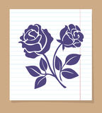 Rose skech on line paper page Stock Photography
