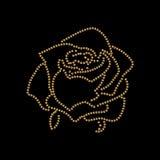 Rose sketch. Flower design dotted outline. Vector illustration. Elegant floral outline design. Gold symbol isolated on black background. Abstract rose. Good stock illustration