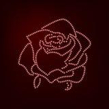 Rose sketch. Flower design dotted outline. Vector illustration. Elegant floral outline design. Red symbol isolated on dark. Background. Good for design, logo or royalty free illustration