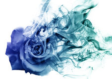 The rose from the smoke. A blue rose that becomes smoke Stock Photo