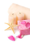 Rose soap and candles. Stock Images