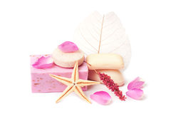 Rose soap, isolated. Rose soap and rose petals. Spa composition, isolated Royalty Free Stock Photography