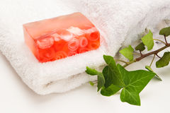 Rose soap and leaves Royalty Free Stock Image