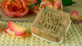 Rose soap with rose petals Royalty Free Stock Photo