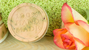 Rose soap with rose petals and blooms Royalty Free Stock Image