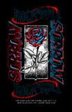 Rose and sorrow rock n roll print design stock illustration