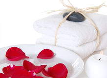 Rose Spa With Towels Stock Image