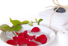 Rose Spa With Towels and Candle Stock Image