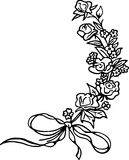Rose Sprig. Simple black and white line drawing of a sprig of roses with ribbon Stock Images